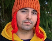 Orange, Yellow, Red Sci Fi Hand knit Hat
