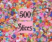 500 Fimo Cane Slices, Assorted Styles for Nail Art, Kawaii Foods, Scrapbooking with Storage