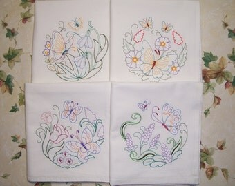 Embroidered Set of 4 Delightful Butterflies Kitchen Towels