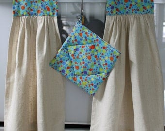Handmade Blue Polka Dot Dishtowel and Pot Holder Set