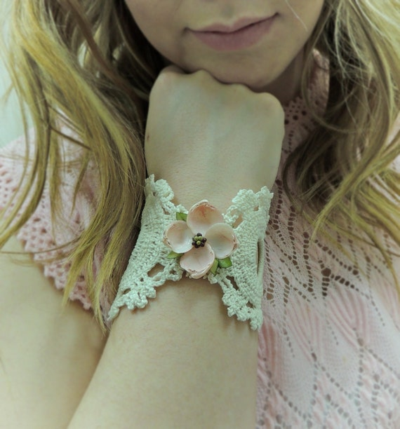 ON SALE/ Floral Cuff / Lace Cuff / Flower Bracelet / Pale Pink  / Lace Jewelry / Shabby Chic Cuff / Boho Chic Cuff / Victorian / Up Cycled