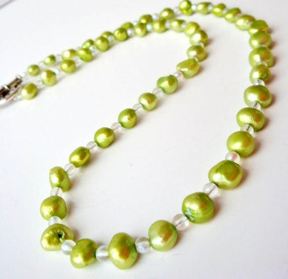 Lime Green Freshwater Pearl Necklace, Lime Green Necklace, Lime Green Pearl Necklace, Pearl Strand Necklace, Simple Strand Necklace
