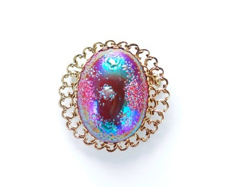 Vintage West German Iridescent Cabochon Brooch Blue Purple