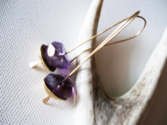 Amethyst Earrings  Purple Gemstone Dangle Faceted Nugget Drop Gold Brass Cup Bowl Metal Birthstone Metalsmith Industrial Hand forged Jewelry