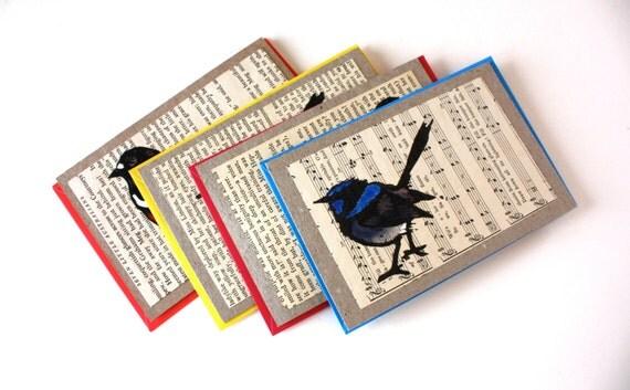 Handpainted Robin and Wren Linocut Cards - Pack of 4 Designs - Australian Birds