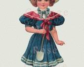 Digital Download Antique Raphael Tuck 'Sunny Susan in Blue' Paper Doll Diecut Edwardian Scrap Graphic Image