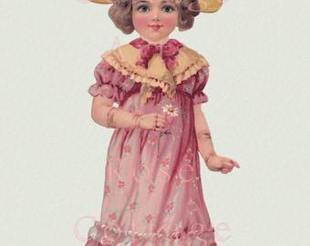 Digital Download Antique Raphael Tuck 'Sunny Susan in Pink' Paper Doll Diecut Edwardian Scrap Graphic Image