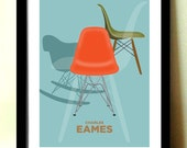 Modern Wall Art, Charles Eames, Eames Furniture, RED CHAIR, Mid Century Modern, Home Décor, Retro poster, Office Wall Art Contemporary Print