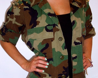 MADE TO ORDER Studded Camo Military Jacket