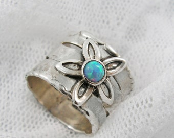 Floral opal silver ring. Sterling silver opal ring. Silver flower ring. Opal floral ring. Wide silver ring (sr-9551) opal jewelry