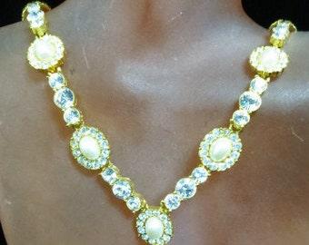 Faux Pearl & Rhinestone Necklace