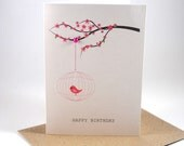 Happy Birthday Card - Female - Cherry Blossom Branch with Birdcage - HBF100 - Pink, Glitter - MumandMeDesigns