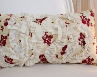 Home Decor Red Cream Floral Ruffle Bed Couch Throw Pillow 1305