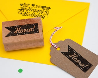 Hoera tag rubber stamp (meaning Hooray/Hurray)