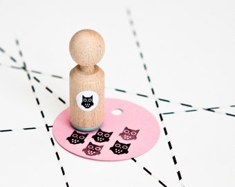 Owl Mini Stamp Mint rubber