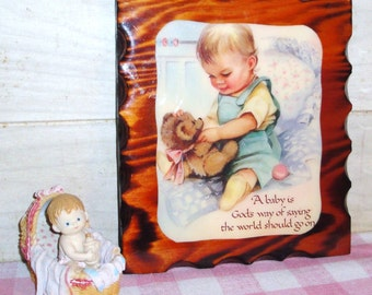 SALE! - Nursery Decor - Vintage Decoupage Wood Plaque and Baby Figurine - Wall Art  - Home Decor - Collectibles