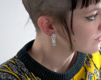 Handmade White Metal Zipper Pull Earrings - Post Back