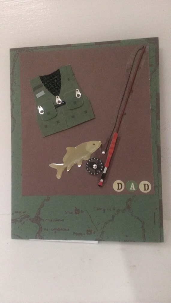Dad fishing card handmade happy birthday by for Fishing birthday cards