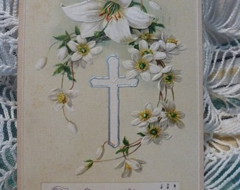 A Happy Easter with Lilies and a cross trimmed in silver.  John Winsch cprt. PM 1921