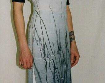 Sheath Dress, Dress in Japanese Art Print, Midi Dress, Slit Dress, Scoop Neck Dress with Half Sleeves in Contrast Black Jersey, OOAK