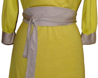 Sheath Dress, Boatneck Dress, Jersey Dress, Long Sleeve Dress, T-Shirt Dress w/Obi Belt, Colorblock Dress in Soft Jersey,Yellow & Gray