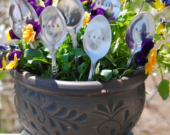 Set of 6 Vintage Spoon Plant Markers- Perfect gift