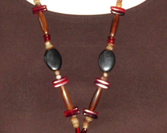 Vintage Boho Necklace Celluloid type material