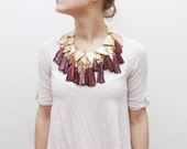 BRAVE HEART/ Gold & Burgundy leather necklace - Ready to Ship