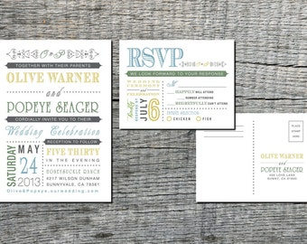 Classic Vintage Wedding Invitation & RSVP Postcard - Old Fashioned Style - Printable DIY