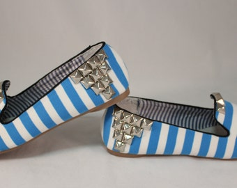 Striped Blue and White Loafer Flats 6
