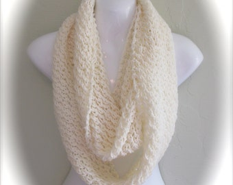 Cream Infinity Scarf. Aran color Infinity Scarf. Hand Knitted Scarf. Cream Scarves. Light weight scarves. Women's Scarves.