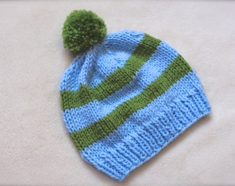 Baby Blue and Green Toddler Beanies for Boys. Blue and Green Beanie. New baby boy hats. Beanies for boys. Striped Beanies