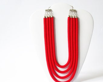 Statement  Necklace/Layered jewelry/Luxury Jewellery/High Fashion Accessories/Red Multistrand Necklace/Beaded Necklace. Made to Order