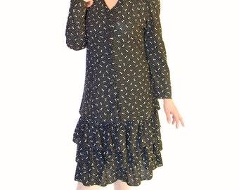 60s Skirt Set. Vintage Coordinates Black White Dots Bows. Ruffled Skirt. Long Shift Jacket. Size Large. Mad Men Fashion