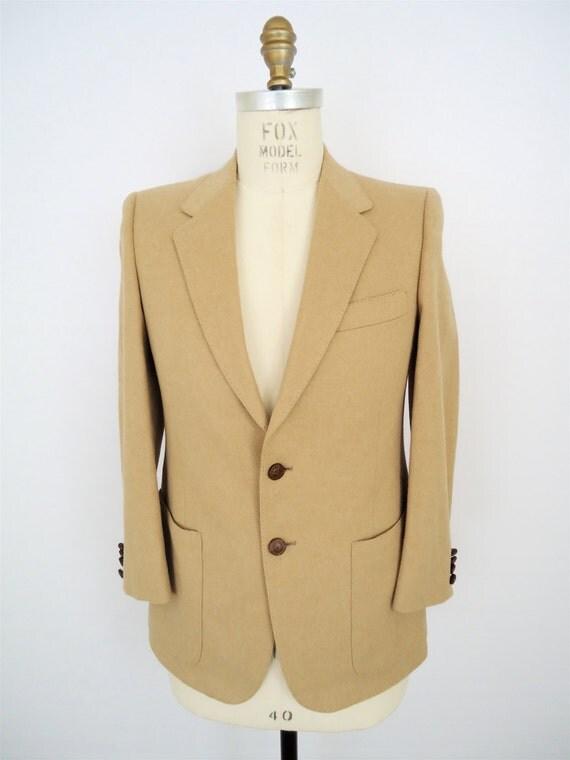 Leather buttons tan sport coat vintage suit jacket mens small