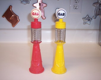 Vintage Avon Remember When gas pump decanters red and yellow