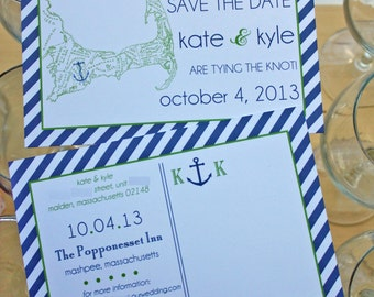 Preppy Nautical Cape Cod Save the Date or Invitation Postcard