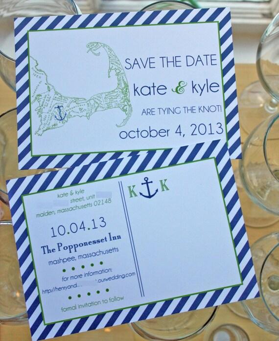 Preppy Nautical Cape Cod Save The Date Or Invitation Postcard