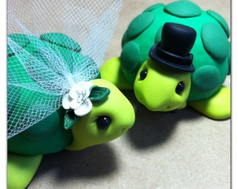 READY TO SHIP Turtle Wedding Cake Topper Handmade