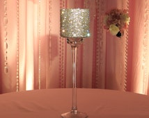 """Crystal Covered Candleholder - glass, stemmed, 15"""" tall"""