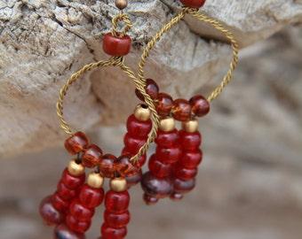 Beaded dangle hoop gypsy earrings with brass