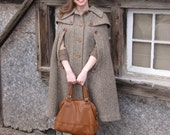 Vintage Brown Tweed Cape Coat 60s Small Medium