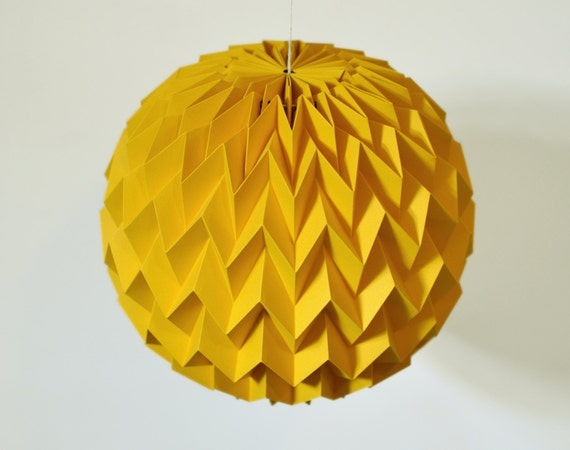 BUBBLE: Hanging Decorative Origami Paper Ball - Mustard Yellow / FiberStore by Fiber Lab