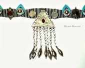Turkoman tribal fusion belly dance belt in black, white, turquoise and red. OOAK