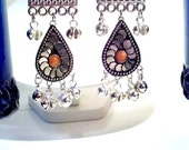 Chandelier earrings, Minoan style. Silver tone with orange stone and bells. Women's ethnic jewelry. Belly dance earrings.