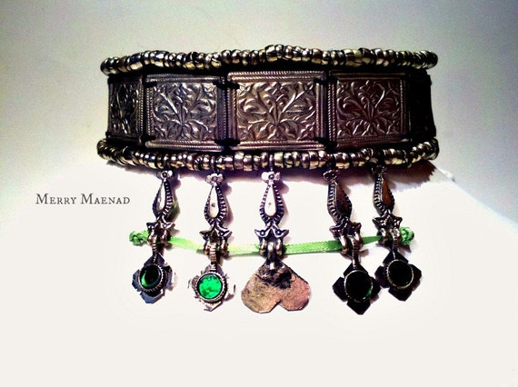 Embellished tribal corset choker necklace with Kuchi and Turkoman amulets. OOAK Black and green ethnic jewelry.