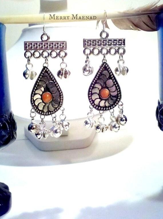 Chandelier earrings, Minoan style. Silver tone with orange stone and bells. Women's ethnic jewelry. Belly dance earrings.