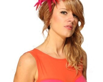 Hot Pink and Red  Feather Fascinator Hat - wedding, ladies day - choose any colour feathers & satin