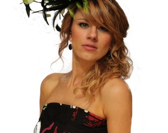Black and lime green  Satin  Feather Fascinator Hat - wedding, ladies day - choose any colour feathers & satin