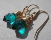 Emerald green swarovski crystal drop earrings on 14kt gold filled ear wires..May birthstone... simple and sweet